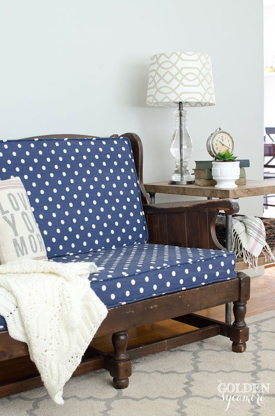 Vintage blue and white polka dot upholstered loveseat