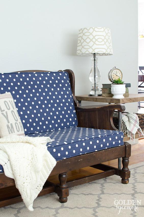 Wondrous Blue Polka Dot Upholstered Sofa The Golden Sycamore Ibusinesslaw Wood Chair Design Ideas Ibusinesslaworg