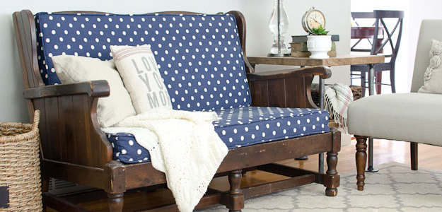 Blue Polka Dot Upholstered Sofa