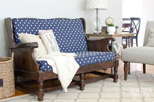 Blue Ikat Dots Sunshine fabric on vintage upholstered sofa
