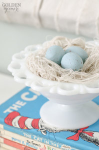 Handmade bird's nest made from drop cloth strings