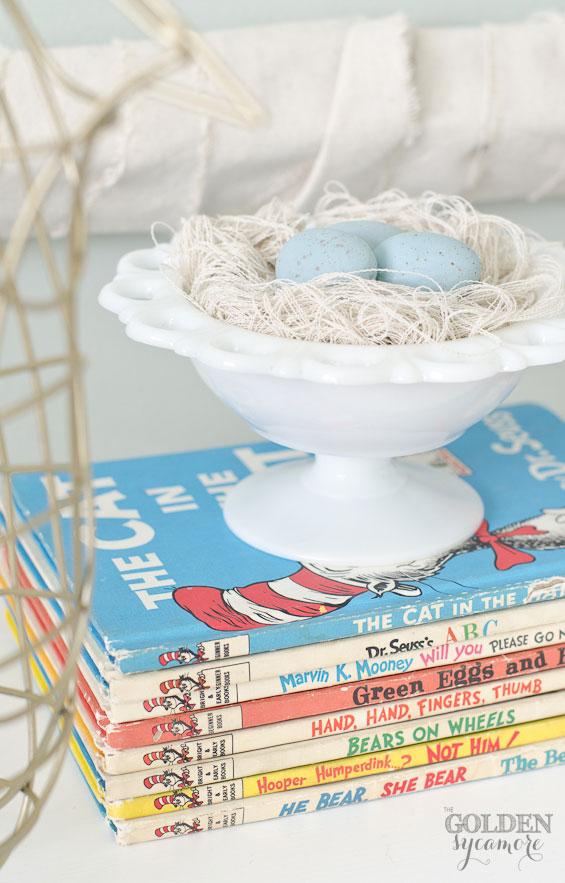 Handmade bird's nest made from drop cloth strings
