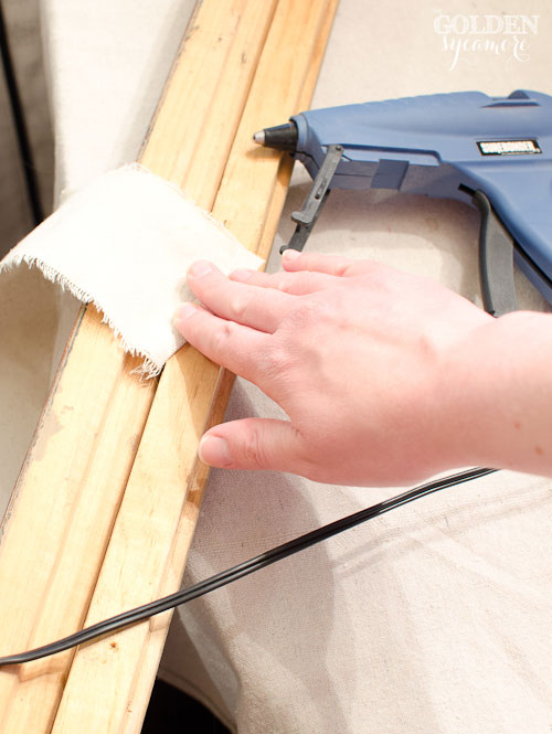 How to add drop cloth strips to trashed frame