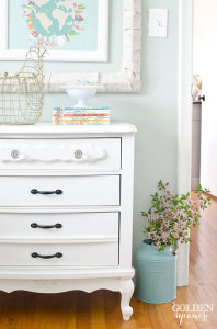Nightstand make-under : calming the room with white paint