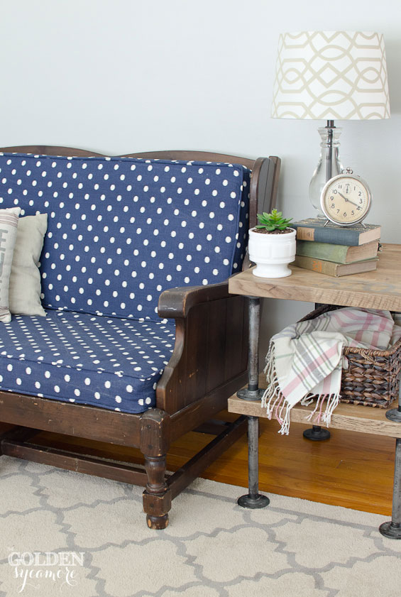 Blue polka dot sofa makeover