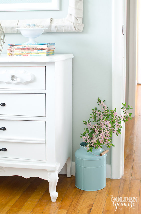 White nightstand in little girl's room