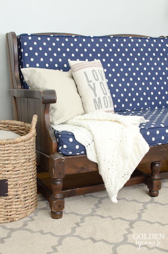 Ethan Allen vintage sofa upholstered with Blue Ikat Dots Sunshine fabric