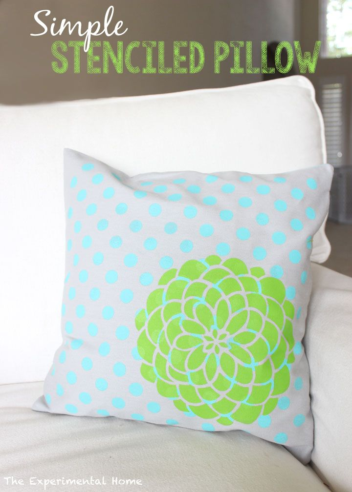 Decor, DIYs, and Treats to Whet your Appetite - stenciled flower pillow