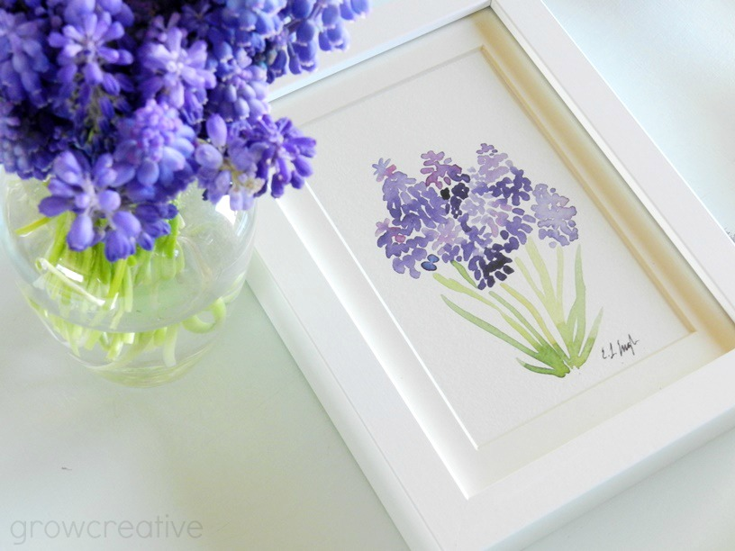 Decor, DIYs, and Treats to Whet your Appetite - watercolor grape hyacinths