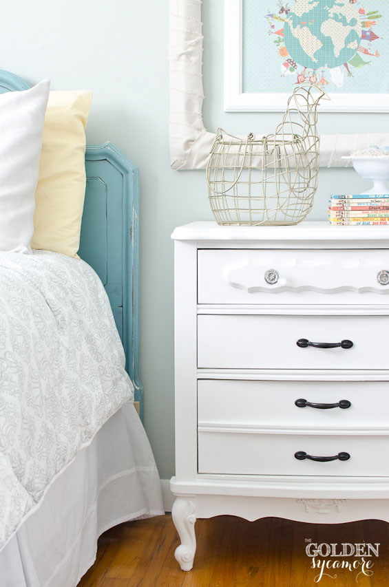 Aqua, yellow, pink, gold, and navy little girl's cottage style room makeover