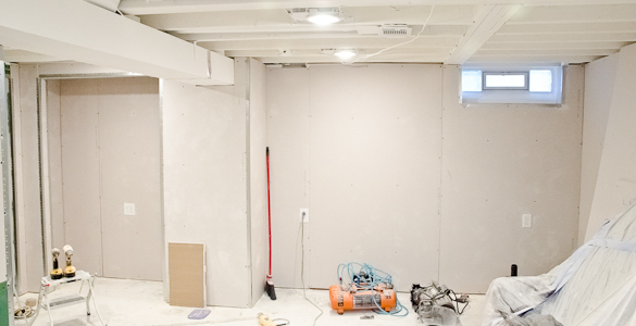 White Painted Ceilings and Drywall in the Basement