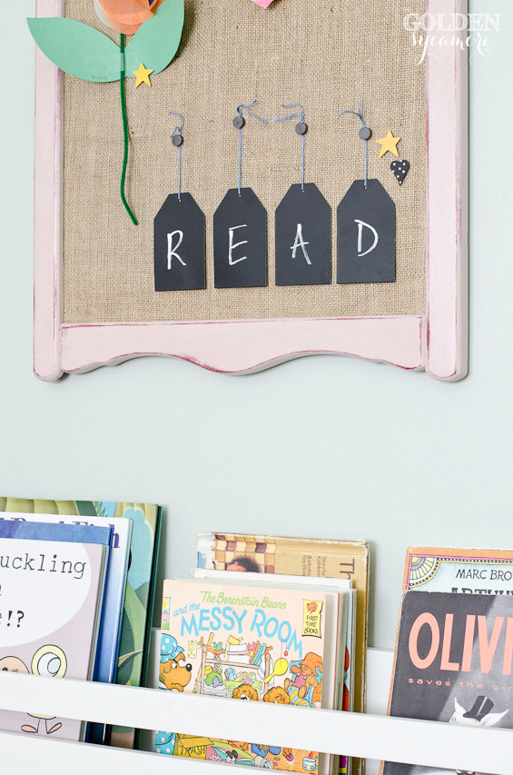READ chalkboard in little girl bedroom