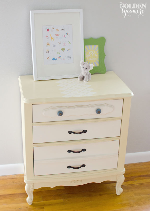 Stenciled nightstand in Cream and Old White Chalk Paint®