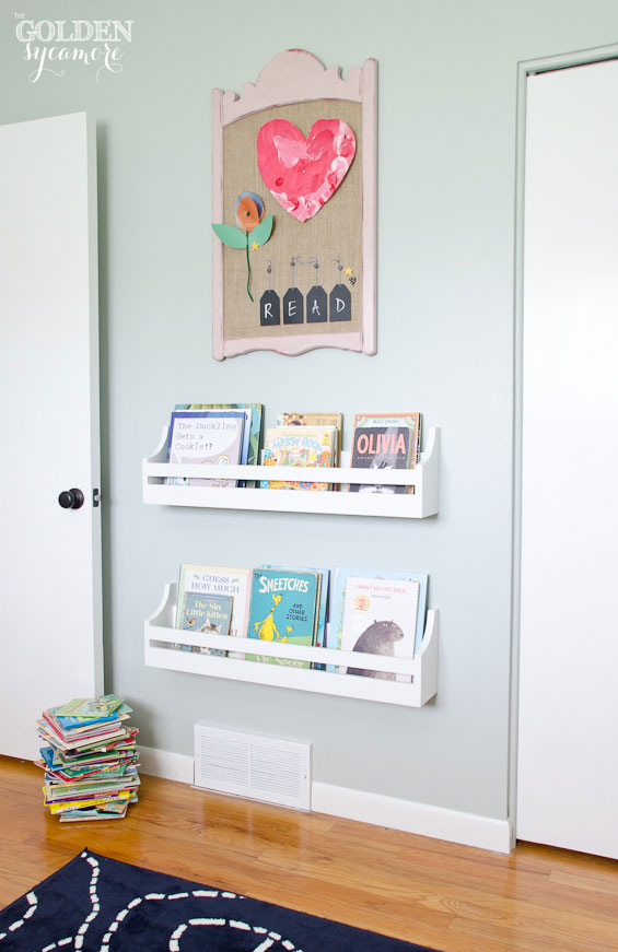 DIY bookshelf and memo board in little girl room makeover
