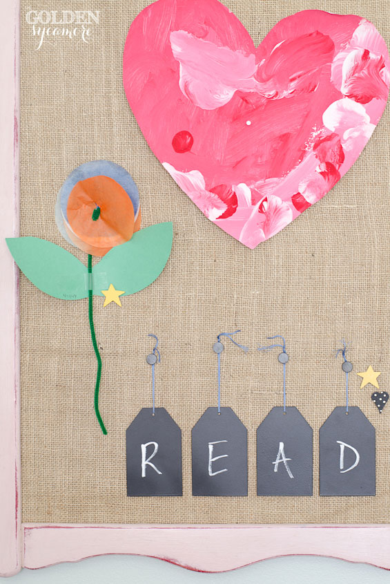 DIY memo board and READ chalkboard