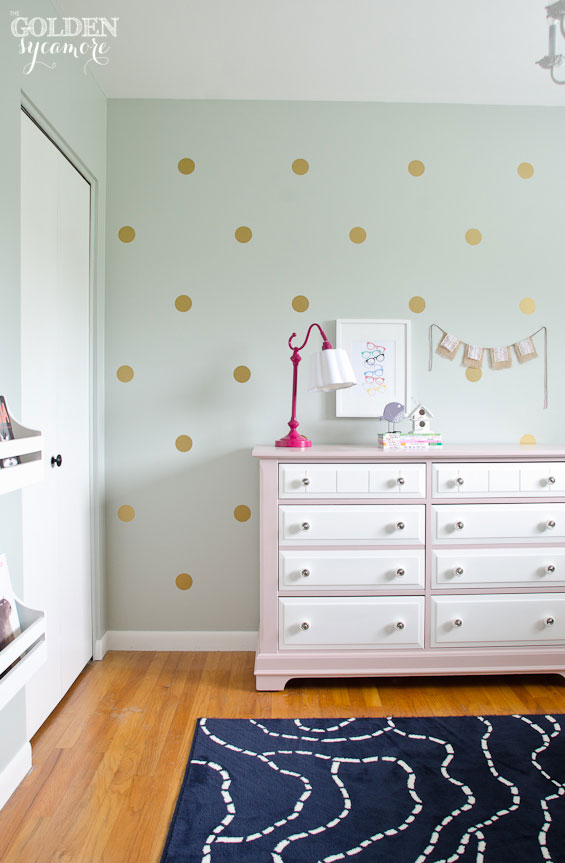 Best Big Girl Bedroom Gold polka dot wall and pink and white painted dresser