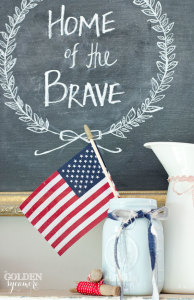 4th of July decor - Home of the Brave chalkboard and American flag