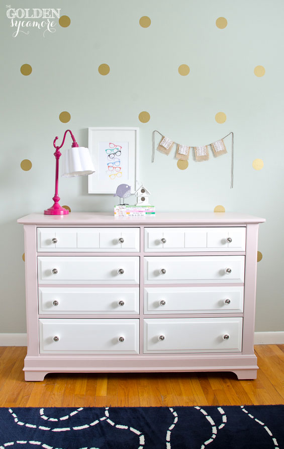 Big Girl Bedroom : Pink and white painted dresser