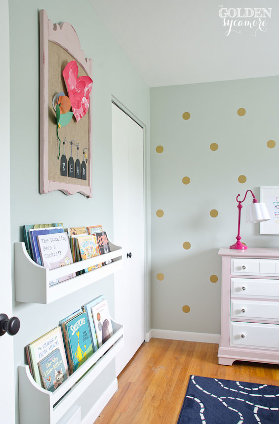 Little girl bedroom with DIY bookshelves