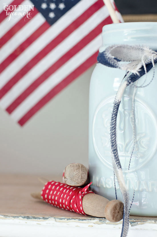 Independence Day decor - American flag and ribbon
