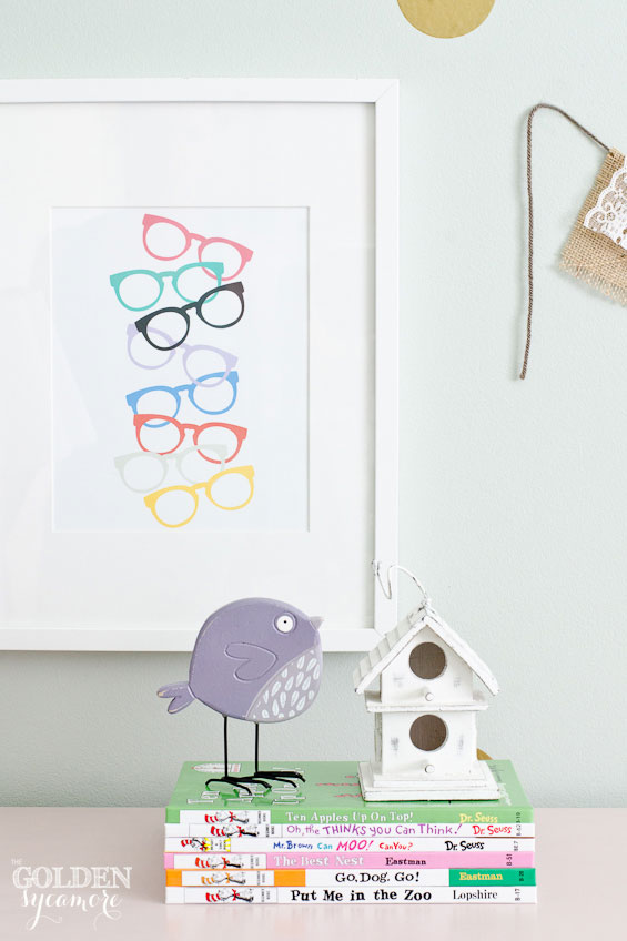 Sunglasses print in big girl bedroom makeover