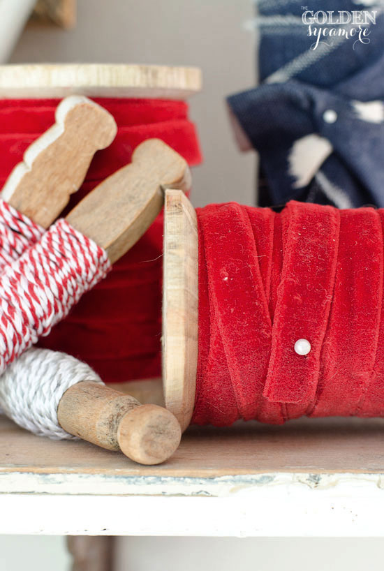 4th of July Decor - vintage red, white, and blue spools and clothespins