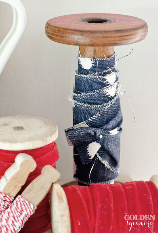 Independence Day decor - vintage spools and clothespins