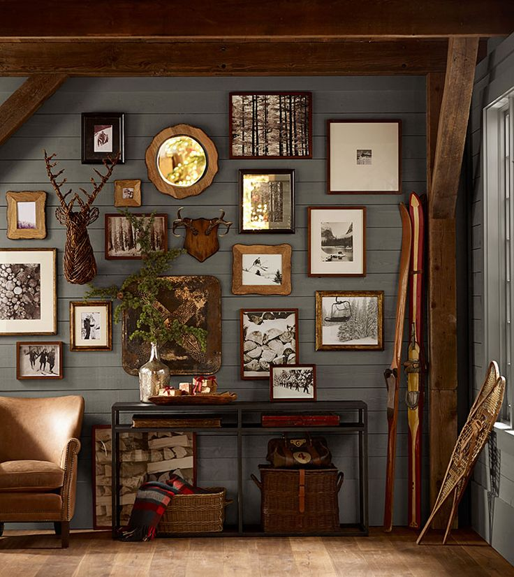 rustic dark paneled gallery wall from Pottery Barn