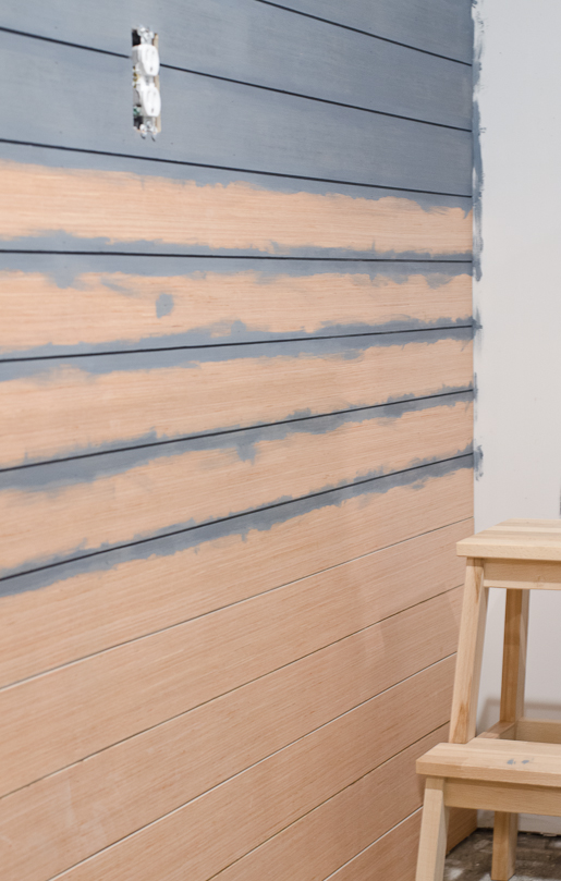 painting our basement wood plank wall with milk paint