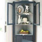 Artissimo navy blue painted corner cabinet