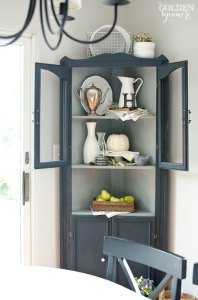Artissimo navy blue painted corner cabinet