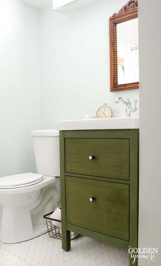 Milk painted Ikea bathroom vanity