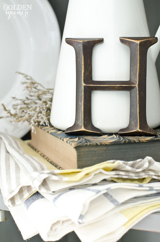 Linens in updated corner cabinet
