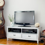 Milk painted white and gray tv console