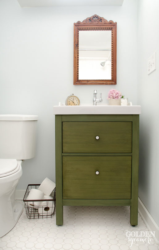 milk painted ikea hack bathroom vanity