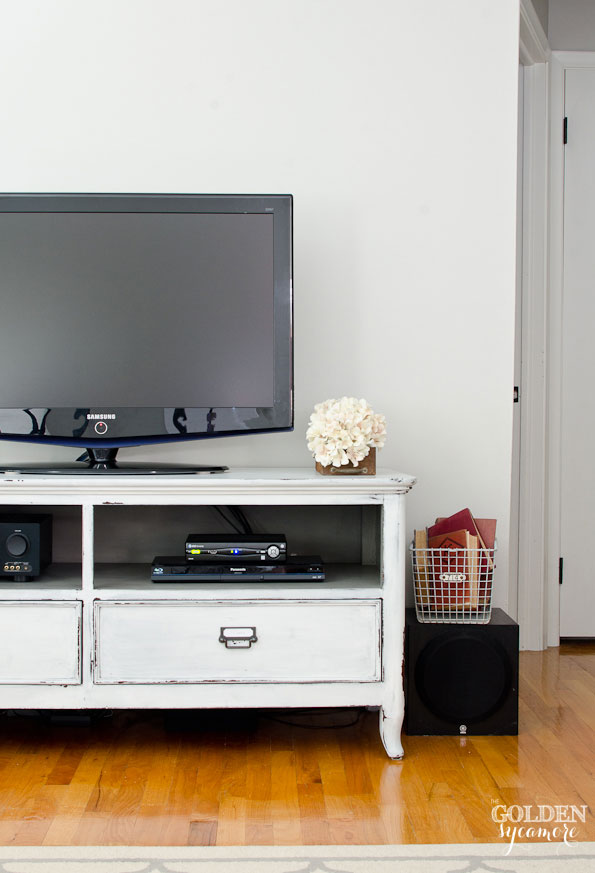 White and gray painted entertainment center