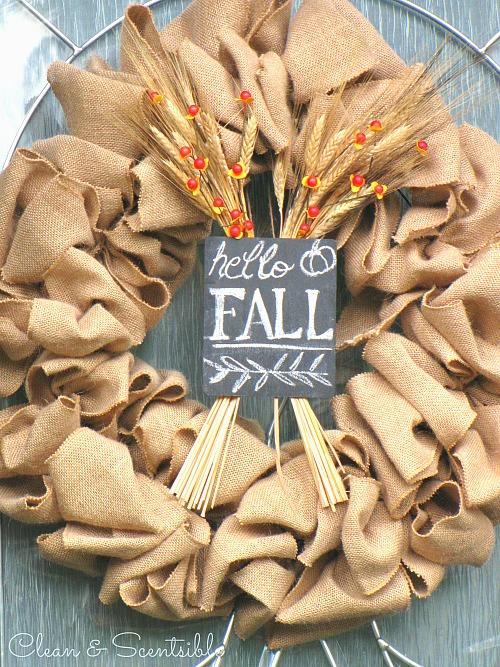 Fall in Love with Fall - Fall burlap wreath