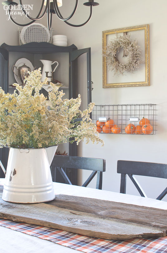Blue and orange rustic fall home tour
