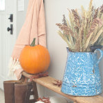 Cozy fall decor with oranges and blues