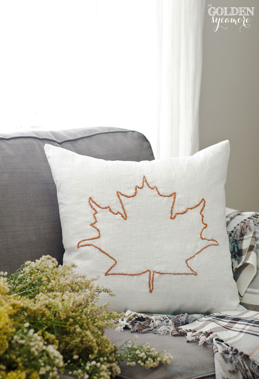 DIY maple leaf embroidered pillow cover