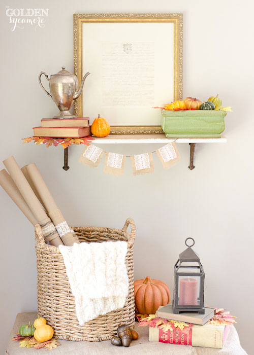 Burlap and lace fall decor