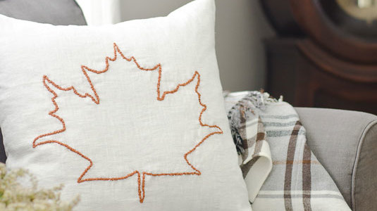 Fall Leaf Embroidered Pillow