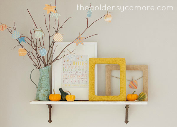 Quick and easy faux fall mantel
