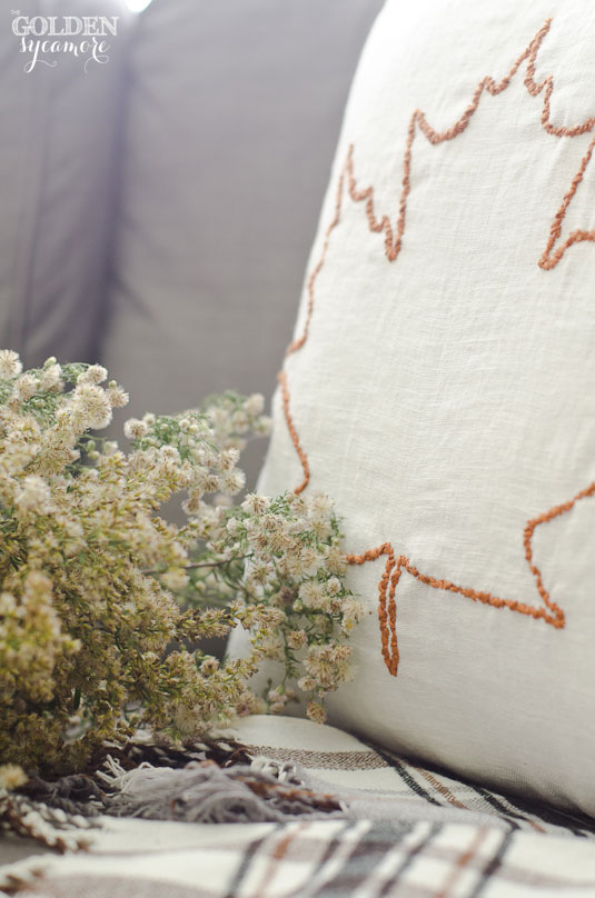 Fall maple leaf embroidered pillow cover