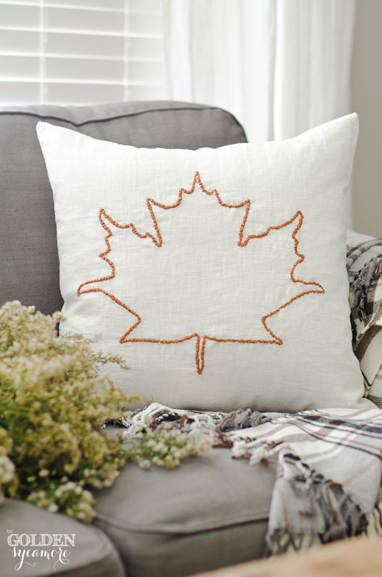 Ikea pillow cover hack - embroidered leaf