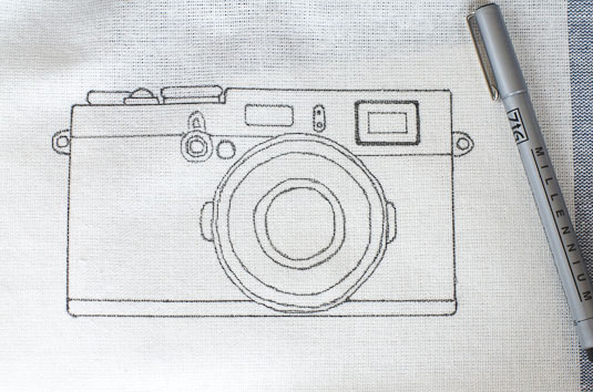 Vintage camera drawn on tea towel