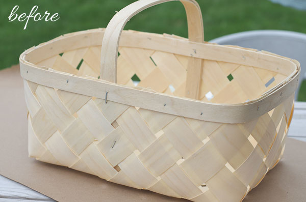 Learn how to make a new store-bought basket look like a vintage bushel basket with just a few steps!