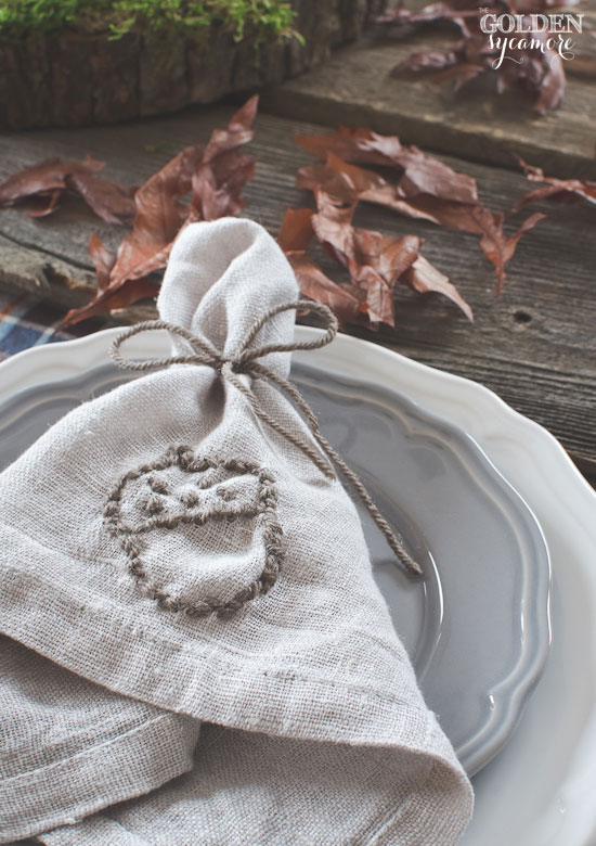 DIY acorn fall embroidered napkin