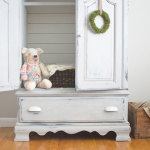 Shutter Gray armoire makeover with white planked back | via www.thegoldensycamore.com