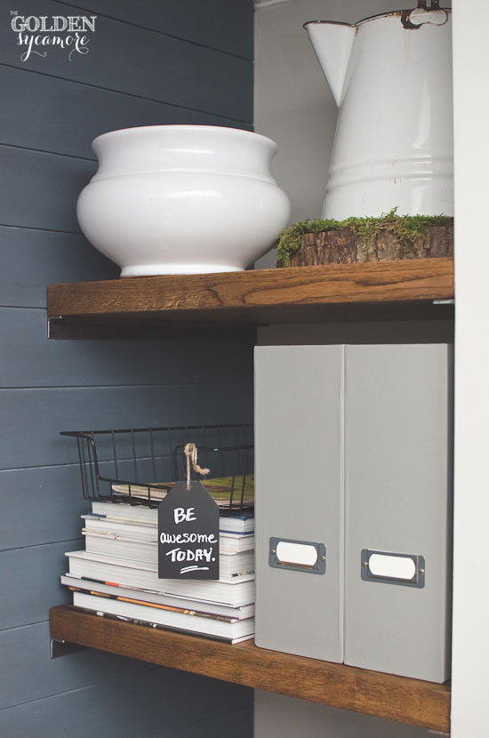 Creating a pretty command center in small office nook by stairway